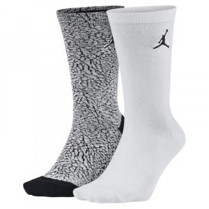 Image of Jordan Elephant Print Crew Socks (2 Pair) White