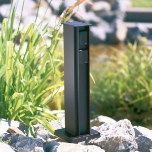 Afbeelding van Albert Leuchten 4 voudige stopcontactenzuil zwart, gegoten aluminium, aluminium profiel, H: 50 cm
