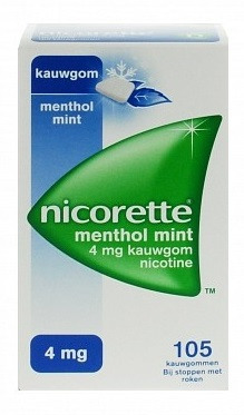 Afbeelding van Nicorette Nicotine kauwgom menthol mint 4mg 105 stuks