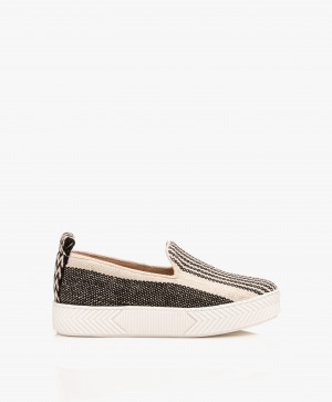 Zdjęcie An Hour And A Shower Sneakers Zigsouk Striped Slip on in Black/Off white