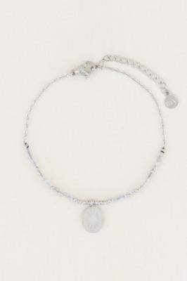 Afbeelding van armband bedel & labradorite, met edelsteentjes