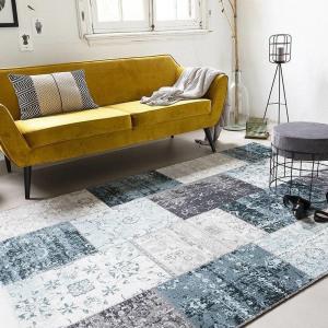 Afbeelding van Lifa Living Vintage vloerkleed Patchwork Grijs/Blauw 80x150cm