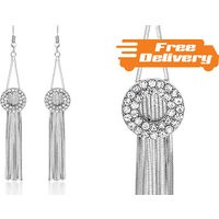 Image of 18K White Gold Plated Tassle Earrings Free Delivery!