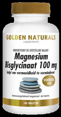 Afbeelding van Golden Naturals Magnesium bisglycinaat 100mg 180 tabletten