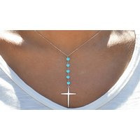 Image of Silver Plated Genuine Turquoise Beaded Cross Necklace
