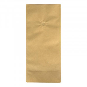 Abbildung von 100 x Blockbodenbeutel Kraftpapier mit Ventil, Einrei?kerbe 3 lagig BOPA braun verschied. Gr??en