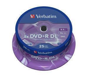 Afbeelding van 1x25 Verbatim DVD+R double layer 8x Speed, 8,5GB mat zilver