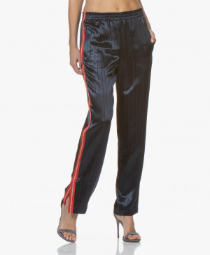Image of Rag & Bone Track Pants Night Blue Ryan Loose fit Satin