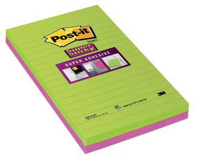 Afbeelding van 10 Post it Super Sticky notes, ft 125 x 200 mm, geassorteerde kleuren,
