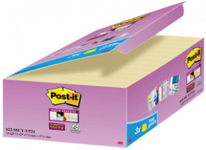Afbeelding van 10 Post it Super Sticky notes, ft 47,6 x mm, geel, 90 vel, pak van