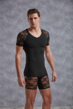Afbeelding vanT Shirt Met Netstof Mouwtjes Zwart Heren Shirts