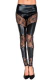 Afbeelding vanLeggings Wetlook Legging Met Kant Zwart One Size Music Legs