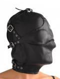 Afbeelding vanLederen kap met afneembare blinddoek en snuit Bondage Maskers