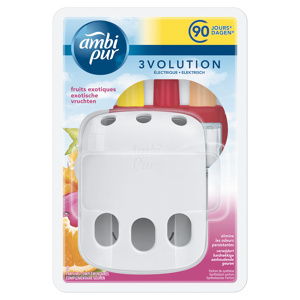 Afbeelding van 4x Ambi Pur Elektrische Geurverspreiders 3Volution Starterkit + Navulling Exotische Vruchten 20 ml