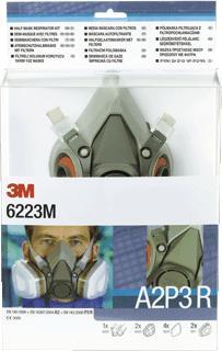 Afbeelding van 3M 6223M Starterskit Voor Halfgelaatsmaskers Met A2 P3 R Filtercombinatie Bajonetaansluiting