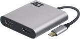 Afbeelding vanACT AC7012 USB C naar HDMI MST HUB Dual Monitor 4K@60Hz Aluminium