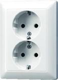 Afbeelding vanJung as500 alpin wit 2 voudig wandcontactdoos randaarde vlak inbouw