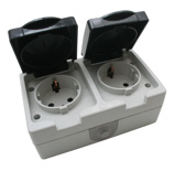 Afbeelding vanShoppartners Buiten wandstopcontact 2-voudig IP54 waterdicht grijs - Met randaarde