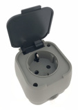 Afbeelding vanShoppartners Buiten wandstopcontact IP54 waterdicht grijs Met randaarde en klep