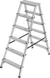Afbeelding vanBrennenstuhl dubbele trapladder aluminium 2x6 sporten hoogte bok ladder 1,25m