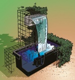 Afbeelding vanUbbink Niagara Balk / Waterval RVS + LED verlichting 30cm Incl. Pomp