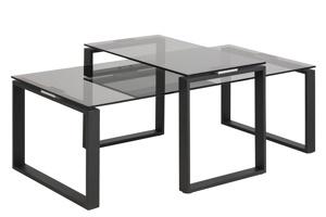 Afbeelding van 2-delige salontafelset Gandrup met rookglas blad