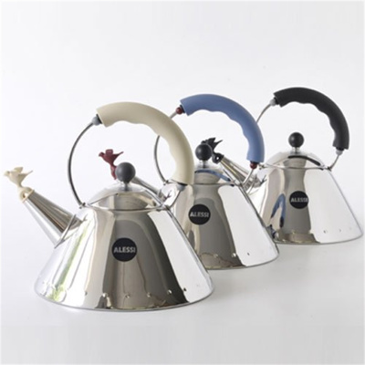 Image of Alessi whistling kettle 9093 (Colour: black/silver)