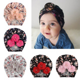 "Bild av""Baby Beanies Hat Caps Soft Fiber Newborn Girls Infant Turban Headband Toddler Pearl Floral Printed Hats Hair Accessories"""