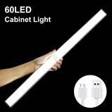 Imagem de24 40 60 LED Closet Light USB Rechargeable Under Cabinet Lightening Stick on Motion Sensor Wardrobe Light with Magnetic Strip