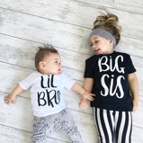"Bild av""Big Sister & Little Brother Outfit Kids Boys Girls T Shirt Newborn Baby Bodysuit Jumpsuit Outfit Sibling Matching T Shirt Outfit"""