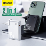 Image ofBaseus GaN Power Bank 10000mAh 2 in 1 USB Charger 45W PD Fast Charging Charger & Battery in one ForiP 11 Pro Laptop ForXiaomi