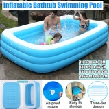 Imagem de1.1m 3.05m Large Inflatable Swimming Pool Children Adults Bathing Tub Baby Home Use Paddling Pool Inflatable Square Kids Pool