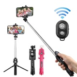 Εικόνα του3 in 1 Wireless Bluetooth Selfie Stick for iphone/Android/Huawei Foldable Handheld Monopod Shutter Remote Extendable Mini Tripod