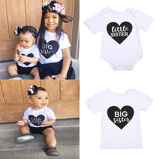 "Bild av""Big/little Sister Matching Clothes Newborn Infant Baby Cotton Romper Kids Short Sleeve Tshirt Outfit Siblings Matching Clothes"""
