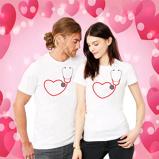 Εικόνα του1pc Valentine Day Shirt Nurse Heart Stethoscope Nurse doctor couple Shirt For Nurse wife doctor husband Cute Valentine Shirts