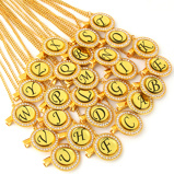 "Bild av""Bling Baby Pacifier Clip Golden Any Initials Letter Pacifiers Chain Holder Baby Dummy Clips Safe Metal Chains"""