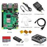 Image oflatest Raspberry Pi 4 Model B 2GB RAM complete Kit:case + EU power adapter + switch line + 16GB TF card+Micro hdmi-vga adapter