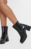 Kép:Black Square Toe Chunky Block Heel Chelsea Boot