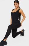 Kép:Black Square Neck Split Hem Jersey Jumpsuit