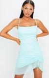 Εικόνα τουAqua Blue Strappy Mesh Ruched Bodycon Dress