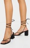 Kép:Black Square Toe Block Heel Strappy Toe Thong Sandals