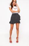 Kép:Black Spot Print Frill Hem Wrap Mini Skirt