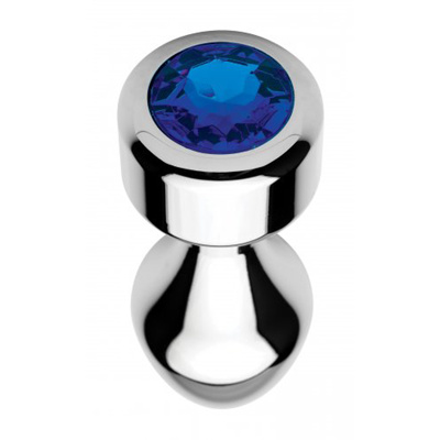Image of Aluminum Butt Plug With Blue Crystal Large