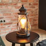 Afbeelding vanEGLO zwarte lantaarn tafellamp Kirian, voor woon / eetkamer, staal, glas, E27, 60 W, energie efficiëntie: A++, H: 30.5 cm