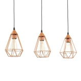 Afbeelding vanEGLO 3 lichts vintage koperen hanglamp Tarbes, voor woon / eetkamer, metaal, E27, 60 W, energie efficiëntie: A++, L: 79 cm, B: 17.5 cm