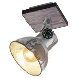 Afbeelding vanEGLO plafondlamp Barnstaple industrieel design 1 lamp, voor woon / eetkamer, metaal, hout, E27, 40 W, energie efficiëntie: A++, L: 16 cm, H: 24 cm