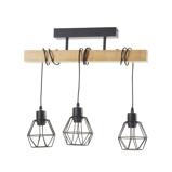 Afbeelding vanEGLO plafondlamp Townshend 5 met 3 kooikappen, voor woon / eetkamer, metaal, hout, E27, 60 W, energie efficiëntie: A++, L: 55 cm, B: 20 cm, H: 36 cm