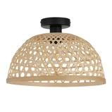 Afbeelding vanEGLO claverdon plafondlamp met gevlochten kap natuur, voor woon / eetkamer, hout, E27, 40 W, energie efficiëntie: A++, H: 24.5 cm