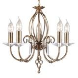 Afbeelding vanElstead kroonluchter Aegean 5 lamps, voor woon / eetkamer, metaal, glas, E14, 60 W, energie efficiëntie: A++, H: 42 cm