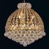 Afbeelding vanClayre & Eef weelderige kristallen kroonluchter Dora, voor woon / eetkamer, metaal, glas, E14, 40 W, energie efficiëntie: A++, H: 55 cm